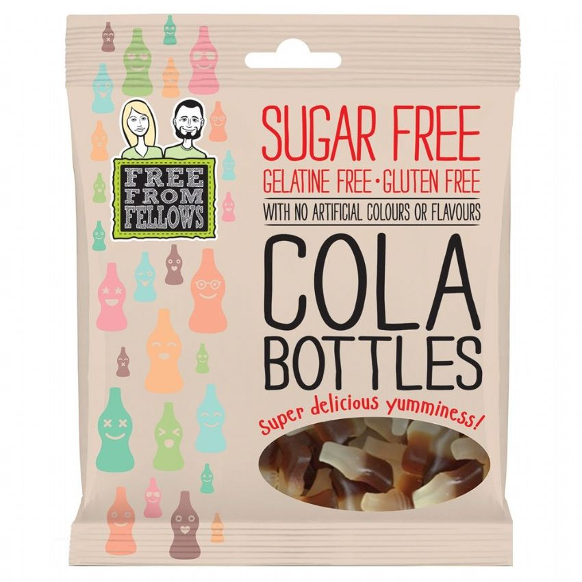 Cola Bottles - Sugar Gelatine Gluten Free Jellies Sweets Free From Fellows 100g